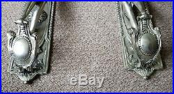 Pair of vintage white metal silver nude cherub wall candle holders sconces