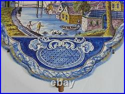 Pr 19th C Delft Wall Sconces Candle Holders Plaques