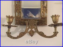 Pr VTG Figural Art Brass Wall Mount Mirrors Candle Holder Sconce