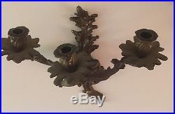 Pr VTG Solid Brass 3 Arm Wall Mount Candle Holder Modern Metal Art Floral Motif