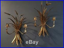 Pr Vtg Hollywood Regency Italy Gold Wheat & Bow 2 Arm Wall Sconces Candle Holder
