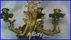 Pretty vintage pair brass 3 arms candelabra wall sconces candle holders