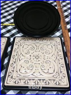 RARE Partylite Large Wall Villa Metal Scroll Sconces Porcelain Tile 38 Long