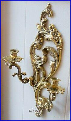 RARE Vtg LARGE BRASS BAROQUE ROCOCO SCONCE Wall Candle Holder BOTANICALS