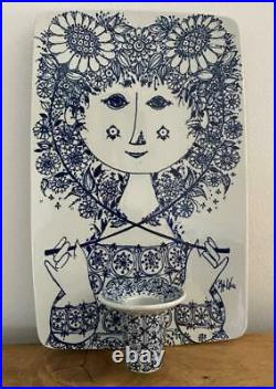 Rare Bjorn Wiinblad Nymolle Flora Blue Candle Holder Wall Sconce Plaque 3118-700