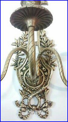Rare Vintage Gothic Old World Brass Candle Stick Wall Hanging Candelabras Lot 2