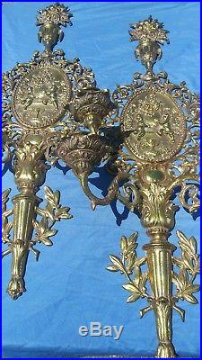 Rococo Wall Candle Sconce Pair Cherub Putti Double Arm BIG Candle Holder Vtg