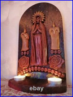 Santa Muerte Wooden Wall Altar Panel + Candleholders Goddess of Life and Death