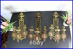 Set 3 vintage bronze limoges porcelain plaque Wall candle holder sconces