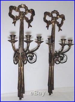 Set Matching Antique Victorian Cast Brass Candelabra Candle Holder Wall Sconces