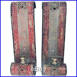Set Of 2 Red Mosaic Metal Wall Sconce Moroccan Style Hanging Ball Candle Holder