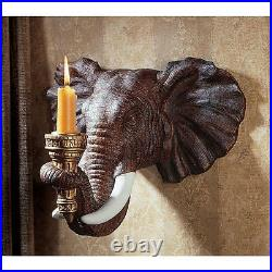 Set of 2 12.5 Exotic African Elephant Sculpture Candle Holder Wall Sconces
