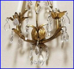 Set of 2 Antique Brass Wall Sconce Candle Holders Pair with Crystal Prisms