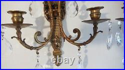 Set of 2 Antique Bronze Wall Sconces Candle Holders with Crystal Prisms
