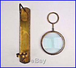 Set of 2 Heavy Brass Wall Sconces With Magnify Glass Portal Candle Holder