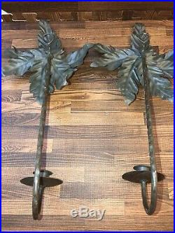 Set of 2 Palm Tree Metal Wall Sconces Candle Holders 17 Home Decor