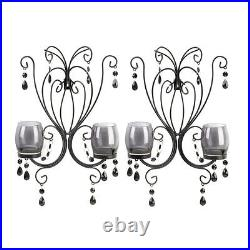 Set of 2 Sultry Elegance Black Metal Candle Holder Smoked Glass Wall Sconce