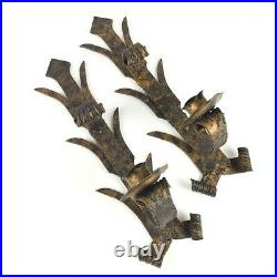 Set of 2 wrought iron taper votive candle holder wall sconce Made In Spain gold