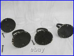 Set of 4 Vintage Black Wrought Iron Wall Sconce Candle Holder withCandles WB2A