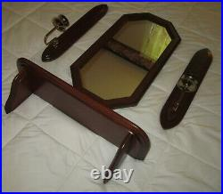 Set of 4=Vtg Wood Wall Display Shelf/Octagon Mirror/Wall Candle Holder Sconces
