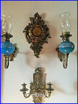Set of Antique French Opalin Wall lamps & clock & Candle holder