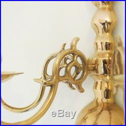 Set of Candle Holders Victorian Vintage Brass 3 Arms Wall Hanging Antique
