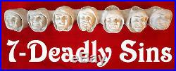 Seven Deadly sin MONK wicca candle wall holder dwarf vtg year gothic head figure
