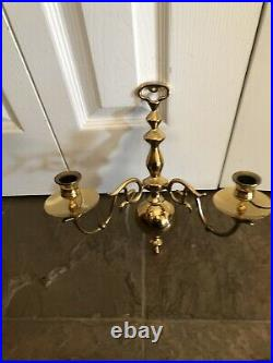 Solid Brass Pair of Candlestick Holder Wall Sconce Double Arm Candelabras