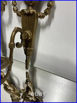 Solid Brass Victorian Design Style Candlestick Candle Holders Wall Sconces