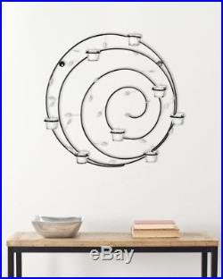 Spiral Candle Holder Wall Sconce Home Decor Wrought Iron Metal Accent Sculpture