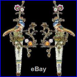 Stunning Pair of Bronze Ormolu Aviary Wall Sconces Candle Holders, 30''H