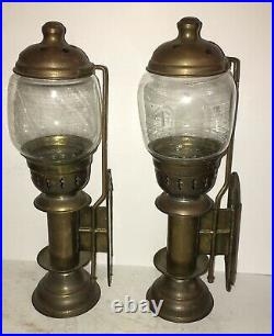 Super Rare Pair BRASS WALL MOUNT Pushup CANDLE HOLDERs Rail Road Car Sconce Lamp