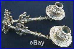 Superb Set Victorian Bronze Brass Piano Wall Sconces Candle Holders