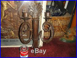 Superb Victorian Art Deco Style Wall Sconce Candle Holder-#1-18 Tall-Metal-LQQK