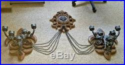 Syroco Burlwood Medieval Wall Set 5 Arm Candle Sconces withGothic Medallion Chains