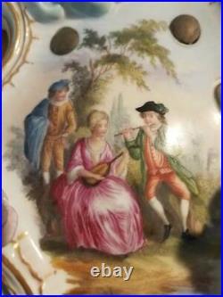 THIEME DOUBLE ARM PORCELAIN WALL SCONCE SCULPTURED WINGED CHERUB 1800's Dresden
