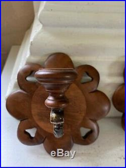 Tell City Chair Co. Wall Candle Holders Wood Metal Antique Scones Maple Andover