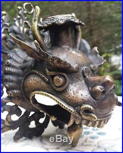 Tibetan Dragon Antique Wall Hanging Solid Brass & Bronze Candle Holder Asian Art