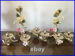 Tole Vtg Pair Painted Metal Wall Sconces Flower Dragonfly Candleholders Garden