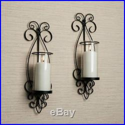 Traditional Euro Set of 2 Black Metal Scroll Wall Sconces Candle Holders Decor
