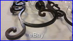 Tuscan Large IRON Scroll Wall Sconce Candle Holder 23 PAIR (2) HEAVY