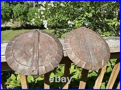 Two Antique 18th C. Colonial Era Tin Wall Hanging Sconces Candle Holders