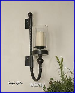 Two Huge 27 Aged Black Rust Twisted Metal Glass Globe Wall Sconce Candle Holder