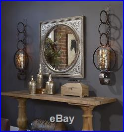 Two Huge 39 Rust Brown Metal Mercury Glass Wall Sconce Candle Holder Hurricane