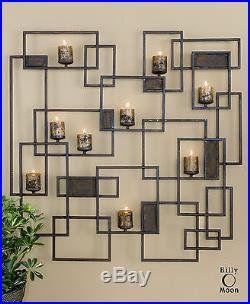 Two Huge 48 Forged Metal Decorative Wall Sculpture Sconce Candle Holder Candles