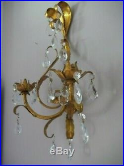 Two Vintage Gold Metal Tole 2 Candle Holder Wall Sconces With Prisms 14 x 11