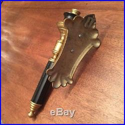 VTG French Empire Gothic Deco Retro Brass Black Metal Wall Sconce Candle Holder