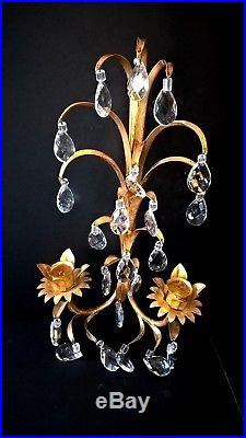 VTG ITALIAN Gilt Metal TOLE Crystal Candle Holder WALL SCONCES Hollywood Regency