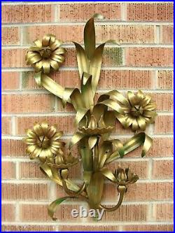 VTG Italian GOLD GILT METAL Wall Art SCONCE Candle Holder TOLEWARE