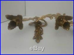 VTG Mid Century Brass Sconces Wall Taper Candle Holders Hollywood Regency Flower